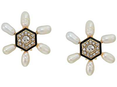 Vince Camuto Clip Button Earrings (Gold/Jet Black/Crystal/Ivory Pearl) Earring