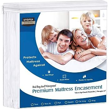 Utopia Bedding Premium Zippered Waterproof Mattress Encasement - Zipper Opening Protector - Fits 13 Inches Deep - Bed Bug Proof (Twin)