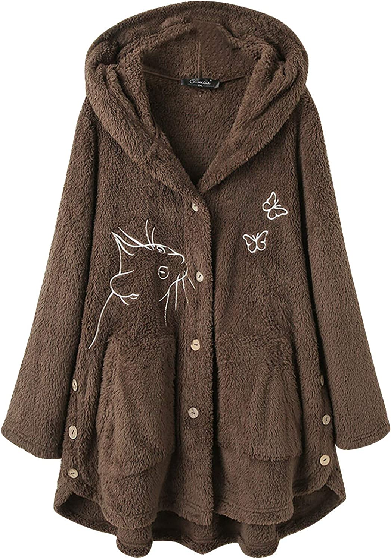Women's Button Plush Hooded Cardigan Wool Fleece Zip Sweatshirt Long Sleeve Jacket