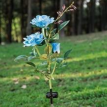 Elstey 太阳能灯玫瑰花与红框,太阳能户外防水 LED 灯,花园景观装饰照明。 玫瑰蓝 mgh-07
