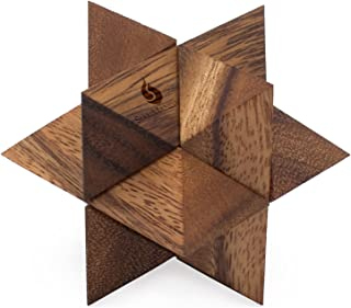 Shooting Star Puzzle: Handmade & Organic 3D Brain Teaser Wooden Puzzle for Adults from SiamMandalay with SM Gift Box(Pictured)