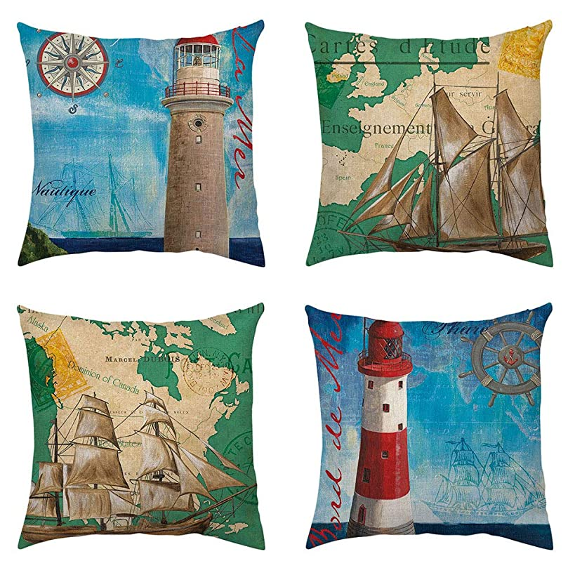 Set of 4 Geography Decorative Lighthouse Throw Pillow Case Ocean Series Map Compass Cushion Covers Nautical Pillows 18 x 18 Inch Home Sofa Decor