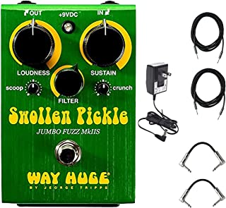 Dunlop Way Huge WHE401S Swollen Pickle MKIIs Effects Pedal With a Pair of Patch Cables, Power Supply, and Instrument Cables