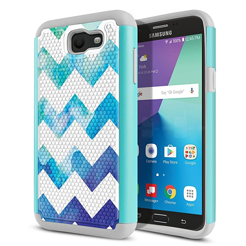 FINCIBO Case Compatible with Samsung Galaxy J7 2017 Sky Pro, Dual Layer Football Skin Hybrid Protector Case Cover Anti-Shock TPU for Galaxy J7 2017 Sky Pro (NOT FIT J7 2016) - Blue Watercolor Chevron