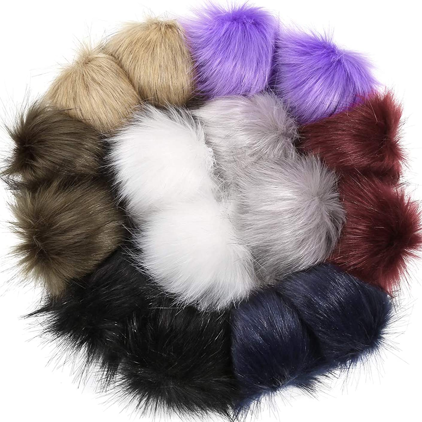 Auihiay Faux Fur Pom Pom Ball DIY Fur Pompoms with Sewing Buttons for Hats Shoes Scarves Bag Keychain Charms Knitting Hat Accessories (16 Pieces, 8 Mix Colors)