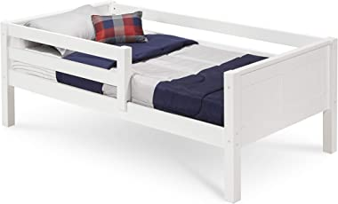 Camaflexi Panel Style Solid Wood Day Bed with Front Rail Guard, Twin, White