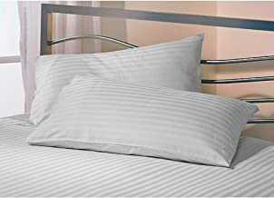 AVI Set of 2 Sateen Striped Cotton Pillow Cover, White (18 Inch X 28 Inch)