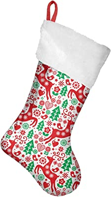 Amazon Com Personalized Red Felt Christmas Stocking With Snowflakes Home Kitchen