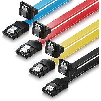 SATA-Kabel 50cm SATA III Stecker auf SATA III Stecker 90° mit Clip gelb 0,5m