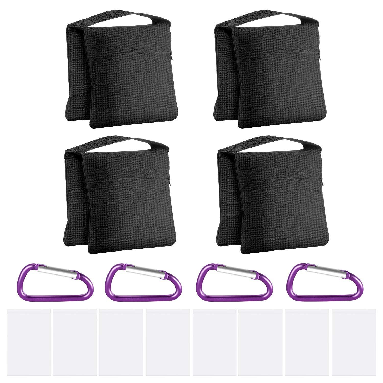Neewer 4-Pack Bolsas de Arena de Alta Resistencia con Diseño de Alforja para Fotografía Video Soporte de Estudio Patio Trasero, Bolsa de PP Transparente y Clips Incluidos(Negro): Amazon.es: Electrónica