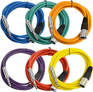 SEISMIC AUDIO - SATRXL-M10-6 Pack of Muliple Colored 10' XLR Male to 1/4