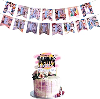BTS تولدت مبارک بنر کیک Topper Bangtan Boys Themed Decor Party Suppliers for Dirthday Party Party