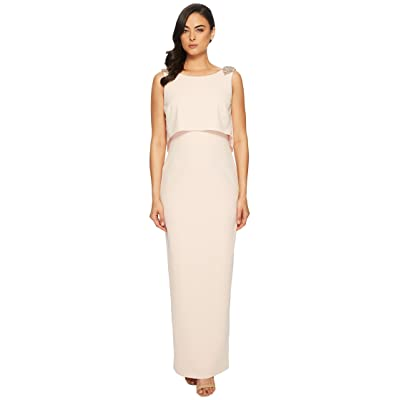 Adrianna Papell Long Stretch Crepe Pop Over Gown with Beaded Shoulder Detail (Light Blush) Women