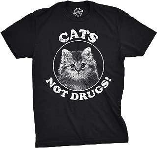 Hombres gatos no drogas gracioso loco gato persona anti droga maullido gatito camiseta