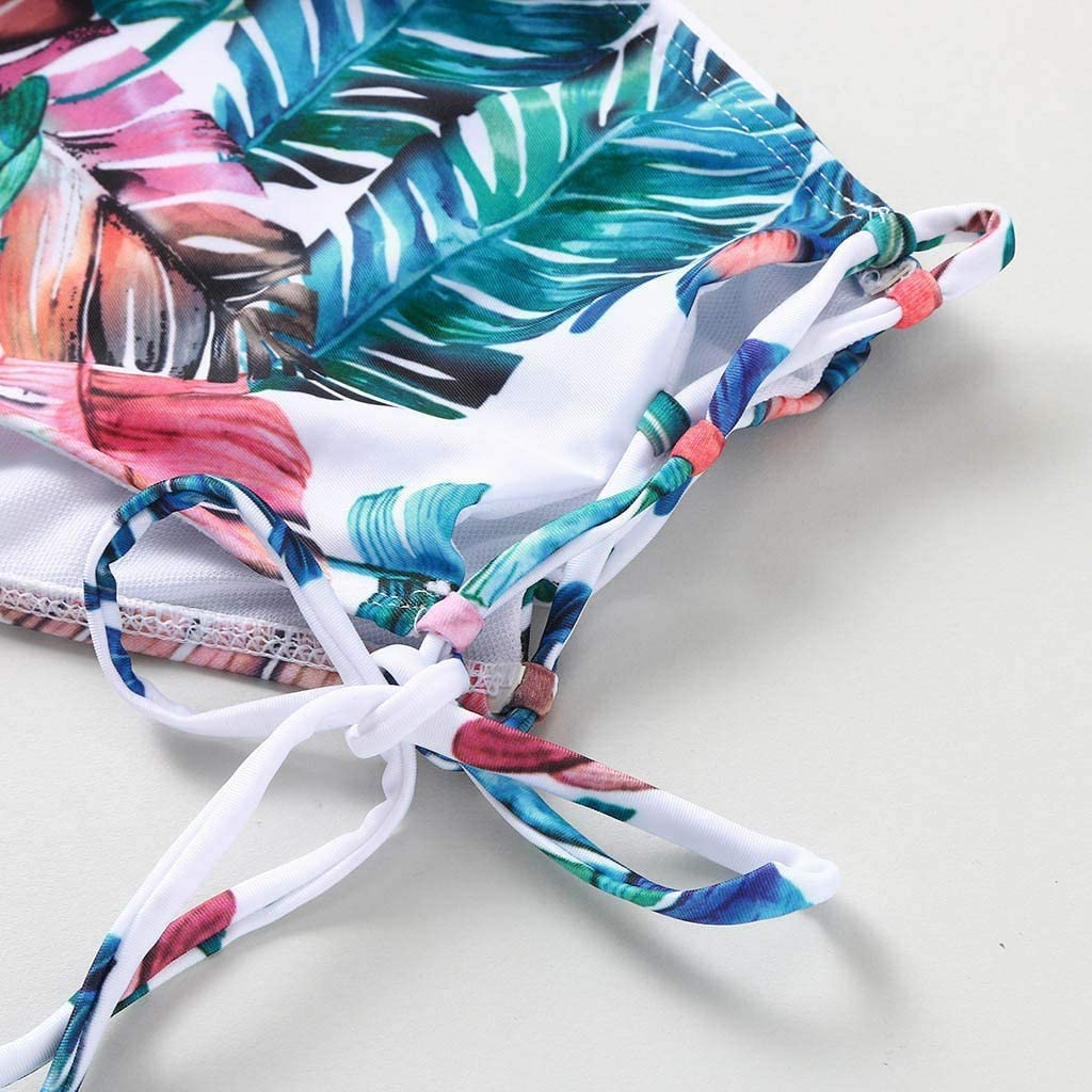 Kcocoo Women Wrap Bikini Set Bandage High Waisted 2 Piece Swimsuit Criss-Cross Leaf Printed Summer Beach Comfy Bathing Suits
