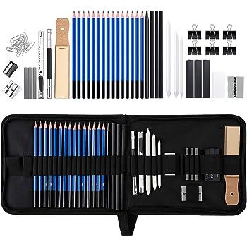 Alomejor 48 ST/ÜCKE Professionelle Skizzieren Zeichnung Bleistifte Kit Tragetasche Kunst Malerei Tool Set Student Schwarz