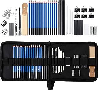 Zekkai Crayons de Dessin Professionnels 43pcs Kit de Croquis avec Mallette, Crayons de Croquis, fusains, Charbon Graphite,...