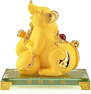 Wenmily 2020 Chinese Zodiac Rat Year Large Size Golden Resin Collectible Figurines,Table Decor Statue
