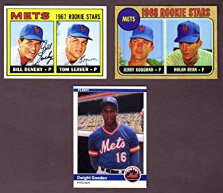 New York Mets Topps Baseball (3) Card Reprint Rookie Lot w/ Original Backs**1967 Tom Seaver Topps Rookie Card, 1968 Nolan Ryan Topps Rookie Card, 1968 Jerry Koosman Topps Rookie Card, 1984 Dwight Gooden Fleer Update Rookie Card**