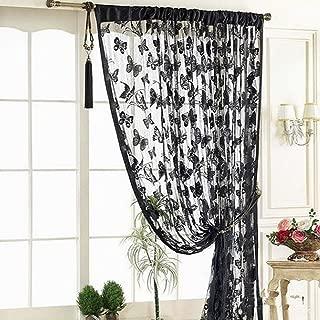 YING LAN String Butterfly Door Window Curtain Drapes Divider Room Blind Shades Tassel Treatment Black
