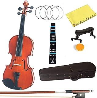 4/4 Beginner Violin,Violin Notes Sticker, Handcrafted Acoustic Violin Starter Kit, User Manual, Shoulder Rest,Hard Case, B...