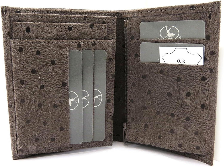 European leather wallet 'Frandi' taupe (peas).