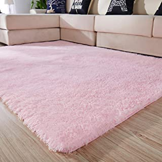 Amangel Soft Fluffy Pink Area Rug Plush Shaggy Velvet Carpet Cute Shag Furry Fur Rugs for Kids Dorm Rooms Baby Nursery Girls Bedrooms Home Furniture Decor 4x5.3 Feet, Pink