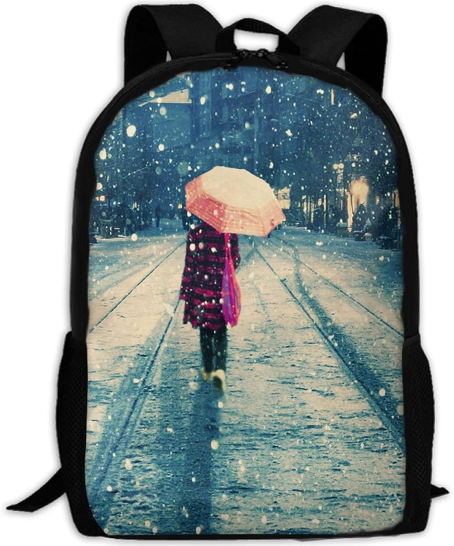 Adult Backpack Winter Sidewalk College Daypack Oxford Bag Unisex Business Travel Sports Bag with Adjustable Strap