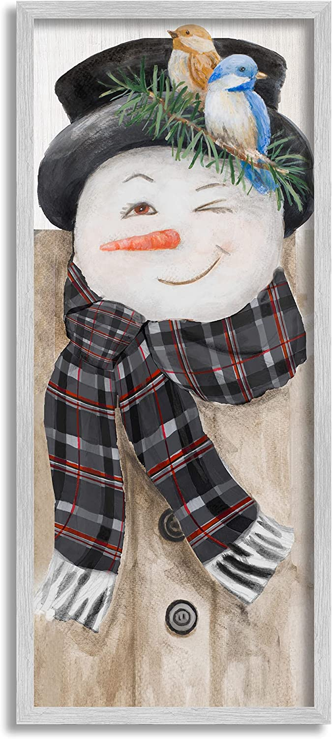 Stupell Industries Snowman Wink Winter Birds Rustic Plaid Scarf, Designed by Lanie Loreth Gray Framed Wall Art, 13 x 30, Multi-Color