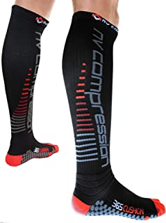NV Compression 365 Cushion Socks – Black – Compression Sports Socks – for Running,..
