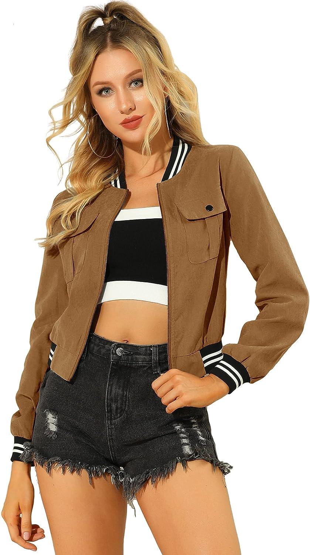 Allegra K Women's Zip Up Bomber Jackets Long Sleeves Casual Lightweight Biker Coat