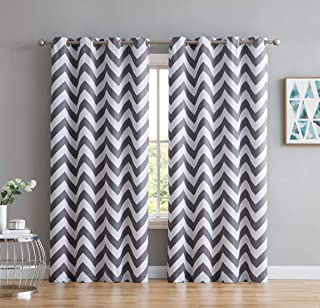 HLC.ME Chevron Print Thermal Insulated Energy Efficient Room Darkening Blackout Window Curtain Grommet Top Panels for Bedroom & Nursery - Set of 2-52