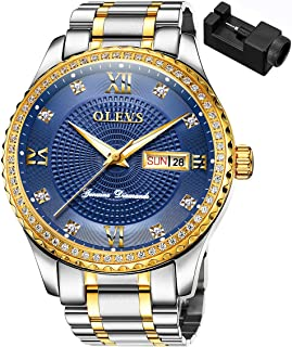 OLEVS Diamond Watches for Men,Business Dress Watch Waterproof Luminous,Male Golden Big Dial Luxury Casual Quartz Analog Watches with Day Date Calendar and Stainless Steel Band