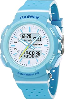 PASNEW Kid Watch Multi Function Digital-Analog Sport Watches for 7-Year Old or Above Children(LightBlue)