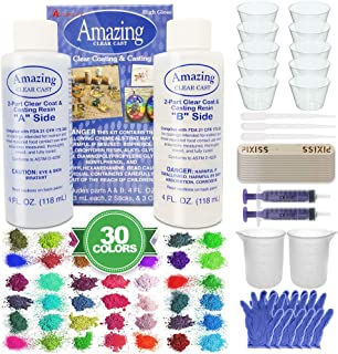 Amazing Clear Cast Bundle - Amazing Clear Cast Resin 8 Ounce, Pixiss 30 Colors Resin Tinting Mica Powders (Assorted Colors), Mixing Sticks, Silicone Measuring Cups, Syringes, Gloves, Pipettes