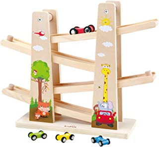 WOOKA Wooden Race Track Car Ramp Racer with 4 Mini Cars First Wood Toy for Toddlers, 1 2 Years Old Boys and Girls