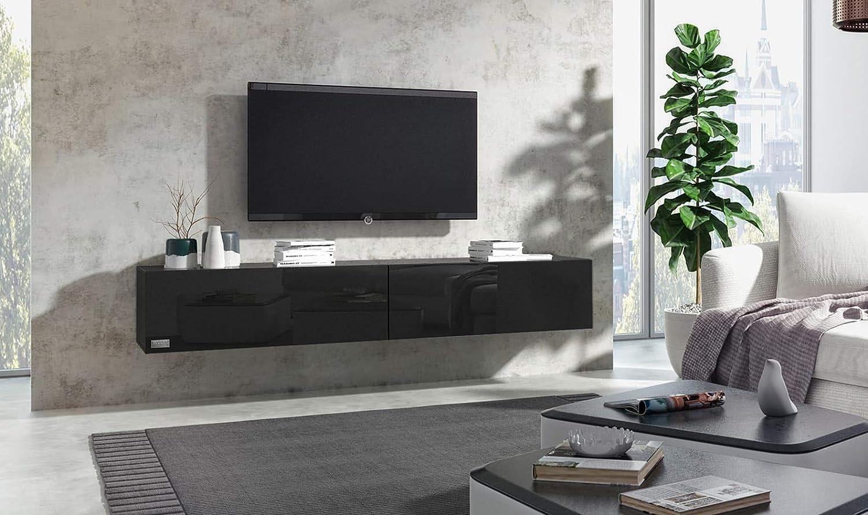 Wuun 120cm Schwarz-Hochglanz (Korpus Matt-Schwarz) 8 Gren 5 Farben TV Lowboard TV Board hngend Hngeschrank Wohnwand Somero