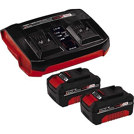 Einhell Original Starter Kit 2x 4 Ah batería y Twincharger Power X-Change (iones de litio, 18 V, 2 baterías 4.0 Ah y Twincharger, adecuado para todos los aparatos Power X-Change)