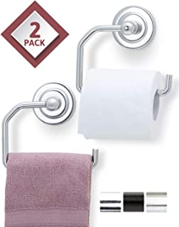 Jack N' Drill 2-Pack Toilet Paper Holder in Chrome with Elegant Wall Mount, Easy to Install Stylish Kitchen & Bathroom Accessories for Paper Towel & Toilet Paper Organizer Fits Most Paper Roll Sizes