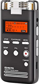 Voice Recorder 8GB Pro PCM 1536K Clear Stereo Audio by EVISTR, L53 Voice Activated Recorder Digital Dictaphone Portable Recording Device Double HD Adjustable Microphone, Noise Reduction