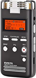 EVISTR Digital Voice Recorder 8GB L53-1536KPBS PCM Stereo Audio Recording Device Portable Dictaphone Microphone Gain Controllable Noise Reduction