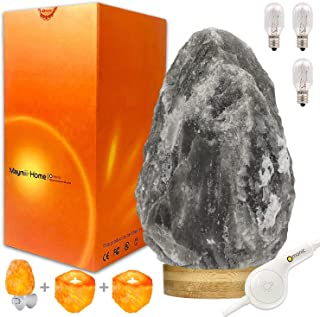 Omonic King Series Giant Huge Rare (11-15lbs) Natural Grey Gray Balck Himalayan Crystal Salt Table Lamp, Hymilian Sea Salt Night Light Lamps with Touch Dimmer Switch Control,Nightlight,Candle Holders