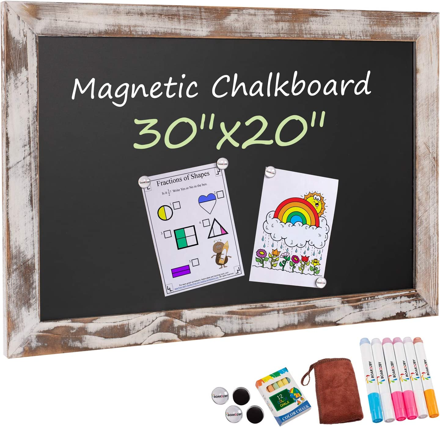 Amazon Com Board2by Rustic Wood Framed Magnetic Chalkboard 20 X 30 Large Hanging Chalk Board Sign For Kids Non Porous Wall Blackboard Wedding Kitchen Restaurant Menu And Home With 4 Unique Magnets
