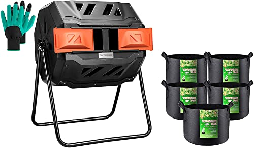 new arrival VIVOSUN Tumbling Composter Dual Rotating outlet sale Batch Compost Bin with 5-Pack online 5 Gallon Grow Bags outlet sale
