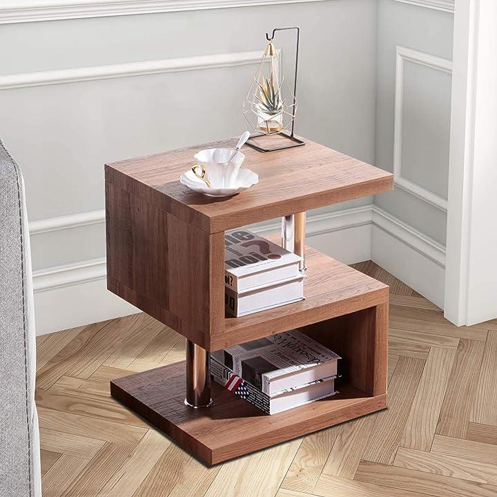 Tavolino da caffè lucido a 3 strati comodino tavolino da divano in legno goldfan B08FMDQJYR