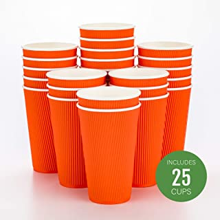 Disposable Paper Hot Cups - 25ct - Hot Beverage Cups, Paper Tea Cup - 16 oz - Tangerine Orange - Ripple Wall, No Need For Sleeves - Insulated - Wholesale - Takeout Coffee Cup - Restaurantware