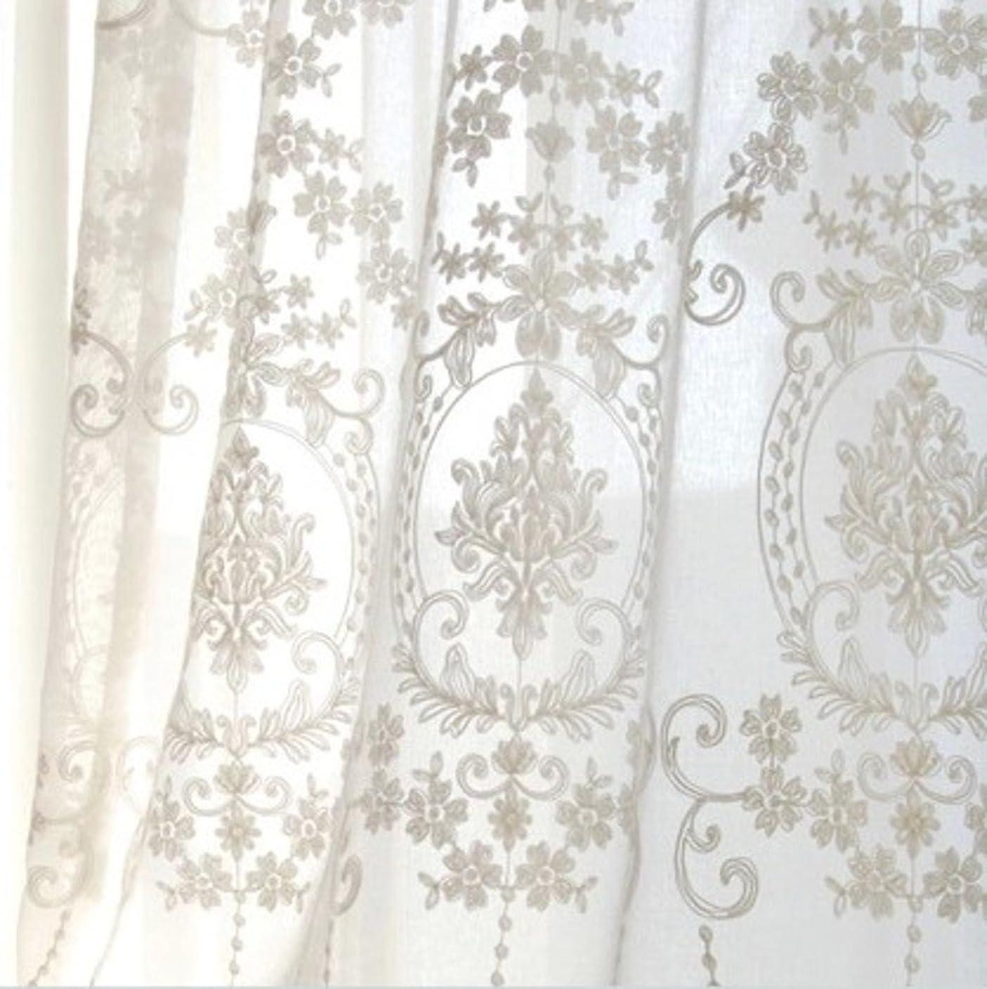 銃棚エレガントセーリング 薄手カーテン, エレガント 花 刺繍 レース ベッド グロメット 半遮光 ルーム ソフト カーテン-ホワイト 350x270cm(138x106inch)
