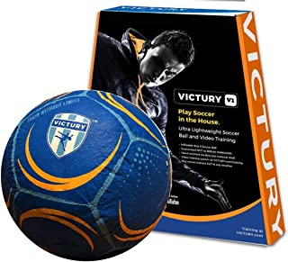 Ollyball VICTURY Sz 5 Soccer Ball and Training Video System for Playing Soccer in the House