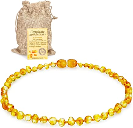 JOULLI Raw Baltic Amber Teething Necklace For Babies, Drooling & Teething Pain Reduce Properties 33CM