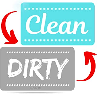 New! Dishwasher Magnet Clean Dirty Sign - Strongest Magnet Double Sided Flip - With Bonus Metal Magnetic Plate - Universal Kitchen Dish Washer Reversible Indicator (Aqua Original)
